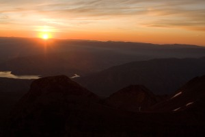 Sunrise as seen from the top of Timpanogos in late summer