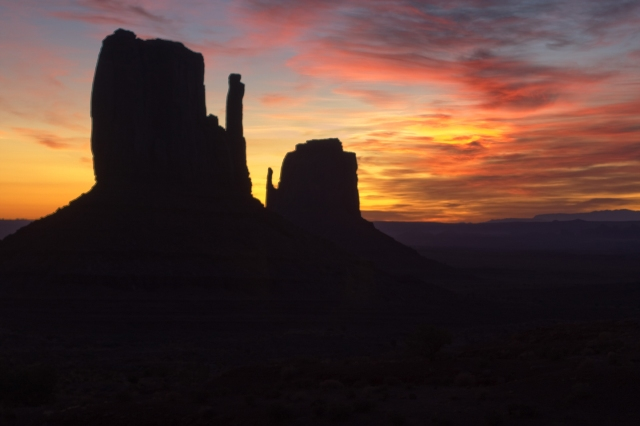 The Mittens formation at Monument Valley, just across the Utah Border